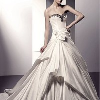 Ball Strapless Zip With Button Back Satin Enzoani Wedding Dresses EWD010 -Shop offer 2012 wedding dresses,prom dresses,party dresses for girls on sale. #Category#