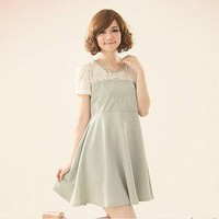 Idiosyncratic Bust Lace Spicing Pleated Dress Green-Wholesale Women Fashion From Icanfashion.com