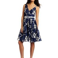 Nine West Dresses Women's Square Dot Belted Voile Dress