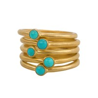Inlaid Turquoise Five Ring Set