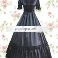 Black Short Sleeves Satin Gothic Lolita Dress [T110492] - $68.00 : Cosplay, Cosplay Costumes, Lolita Dress, Sweet Lolita