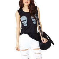 New Black Sinful Skull Shirt Tattoo Sleeveless Goth Biker Tank Top Womens L A09