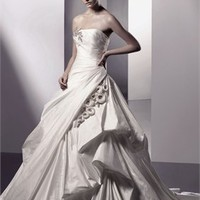 A Line Strapless Beaded Flowers Satin Enzoani Wedding Dresses EWD016 -Shop offer 2012 wedding dresses,prom dresses,party dresses for girls on sale. #Category#