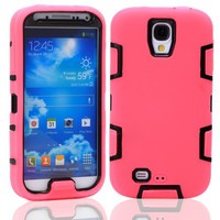 M-LV Deluxe Fashion Defender Hard Soft Silicone Hybird Protective Case Cover Protector Fit For Samsung Galaxy S4 i9500(Pink with Black), With M LV Screen Protector,Stylus and Cleaning Cloth