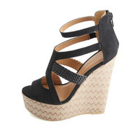 BRAIDED STRAPPY WOVEN CHEVRON WEDGE SANDALS