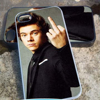 Harry Style flip finger one direction - iPhone 4/4s/5/5c/5s Case - Samsung Galaxy S2/S3/S4 - Blackberry z10- iPod 4/5 Case - Black or White