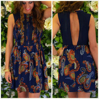 Shiva Valley Navy Paisley Dress