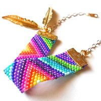 Colorful beadwork bracelet; Native American inspired Peyote stitch bead weaving; seed beads; triangle geometric jewelry; handmade bracelet