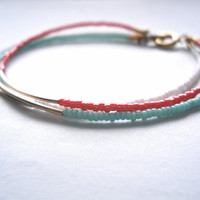 Minimalist Gold Bar Bracelet; Seed bead jewelry; handmade; simple dainty layering bracelet; mint, coral, and white