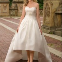 Satin Strapless Sweetheart Ball Gown Destination Wedding Dress - Basadress.com