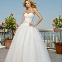 Tulle Strapless Sweetheart Ball Gown Beach Wedding Dress - Basadress.com