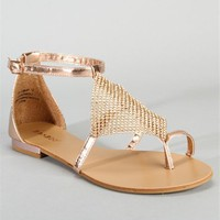 Rhinestone Flat Sandals