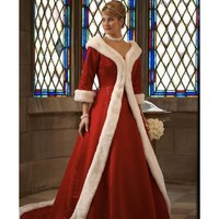 Winter Red Wedding Dresses Unique White Fur Long sleeve Holiday Christmas