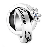 Birthstone Charms  Crystal Ring Love Forever Bead | Pugster.com
