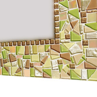 Large Mosaic Wall Mirror - Lime Green, Gold, Tan
