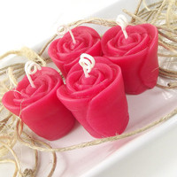 Beeswax Votive Candle, Rose scented Beeswax Candle, (4) 2 ounce Rose Votive Candles
