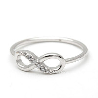 infinity ring, half cz in silver