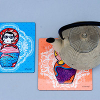 Babushka Russian Dolls coaster, Babushka hot plate, set of 2 square hot plates