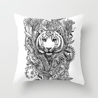 Tiger Tangle in Black and White Throw Pillow by micklyn | Society6