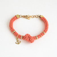 Coral bracelet with anchor charm and knot, anchor bracelet, knot bracelet