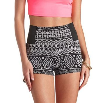TRIBAL PRINT BANDED-SIDE HIGH-WAISTED SHORTS