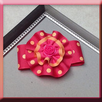 Mix of Flower/Tuxedo Style Hair Bow. Peach & Hot Pink Colors... You will love it!