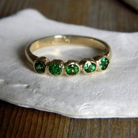 Tsavorite Green Garnet and 14k Yellow Gold Five by onegarnetgirl