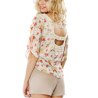 Papaya Clothing Online :: FLORAL BACK CUT-OUT CAPE CHIFFON TOP