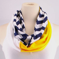 Chevron Infinity Scarf Zig Zag Stripe Gold Navy Brewers Wolverines women lightweight Infinity scarf Loop Circle jersey