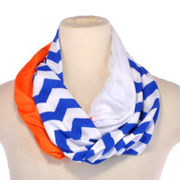 Chevron Infinity Scarf Zig Zag Stripe Blue Orange Gators Mets women Infinity scarf Loop Circle jersey