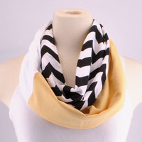 Chevron Infinity Scarf Zig Zag Stripe Black Gold Saints Knights Infinity scarf Loop Circle jersey