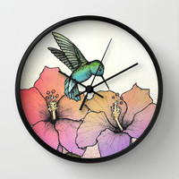 Hummingbird and Hibiscus Wall Clock by Lorri Leigh Art | Society6