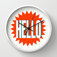 Hello Wall Clock by Josh Franke | Society6
