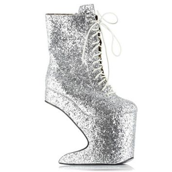 """Chablis"" by Bettie Page™ Shoes (Silver)"