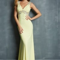 Night Moves 7061 - Yellow Beaded Open Back Chiffon Prom Dresses Online
