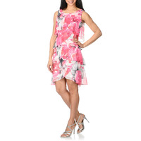 S.L. Fashions Women's Asymmetrical Tiered Floral Printed Dress