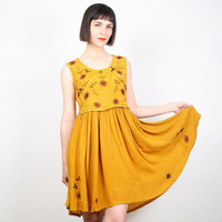 Vintage Mustard Dress Marigold Gold Sundress 90s 1990s Dress Hippie Dress Boho Festival Embroidered Mini Dress Babydoll Dress S M Medium L
