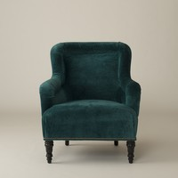 Fulton Chair - Peacock Wool Velvet and Modern Leaf