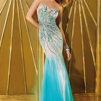 Alyce Prom 6203 - Turquoise/Nude Strapless Sweetheart Prom Dresses Online