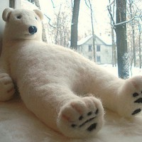 Big white wool polar bear 45 cm Handmade needle by BinneBear