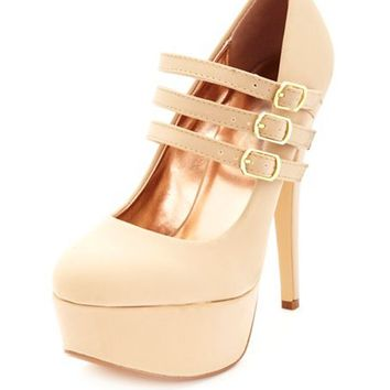 TRIPLE MARY JANE PLATFORM PUMPS