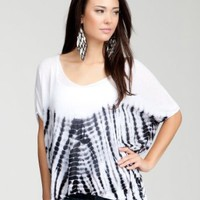 bebe V-Neck Drape Tie Dye Sweater