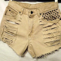 Frayed Light Tan Cut Offs Shorts Silver by twazzy on Etsy