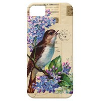 Vintage Bird Lilacs French Postcards Galaxy Case