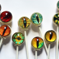 Creature eyes edible image designer lollipops by Vintage Confections
