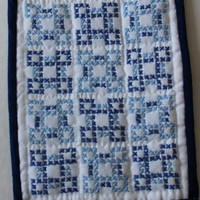 Hand made mini quilt blue cross stitch by purrfectstitchers