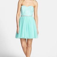As U Wish Lace Bodice Strapless Fit & Flare Dress (Juniors)