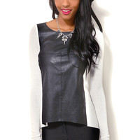 Pleather Front Knit Top
