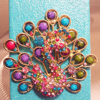 Turquoise Peacock Glitter iPhone 4 4g Hard Case by kaylafenton