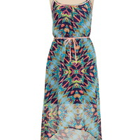 Neon Trim Kaleidoscope print high-low dress
